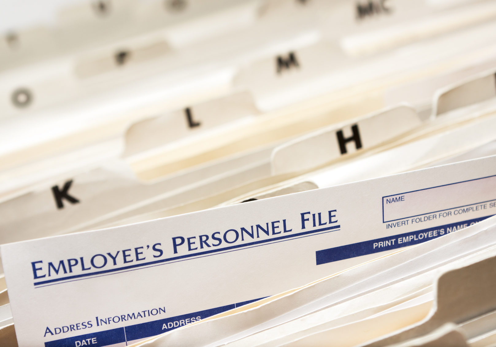 Employee's Personnel File; Narrow depth of field.