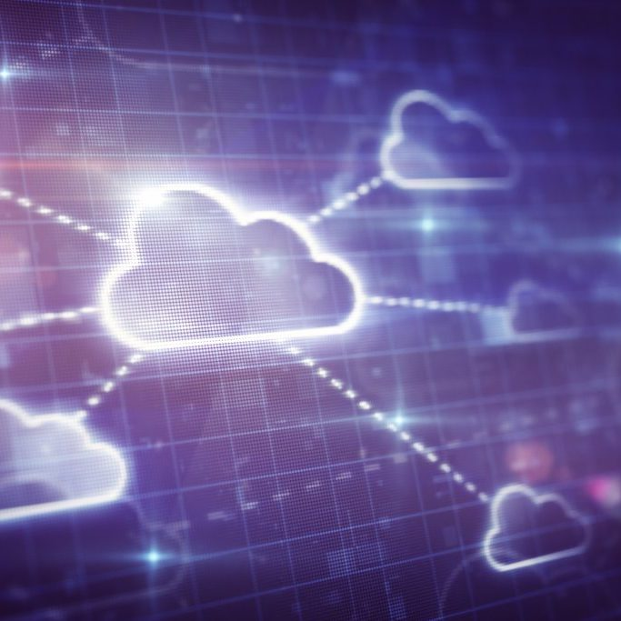 Cloud network on digital screen close up. Stock photo.